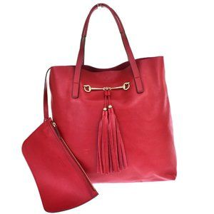 GUCCI Logo Hose Bit Fringe Tote Hand Bag Leather Red Gold Plated Italy 70BT649
